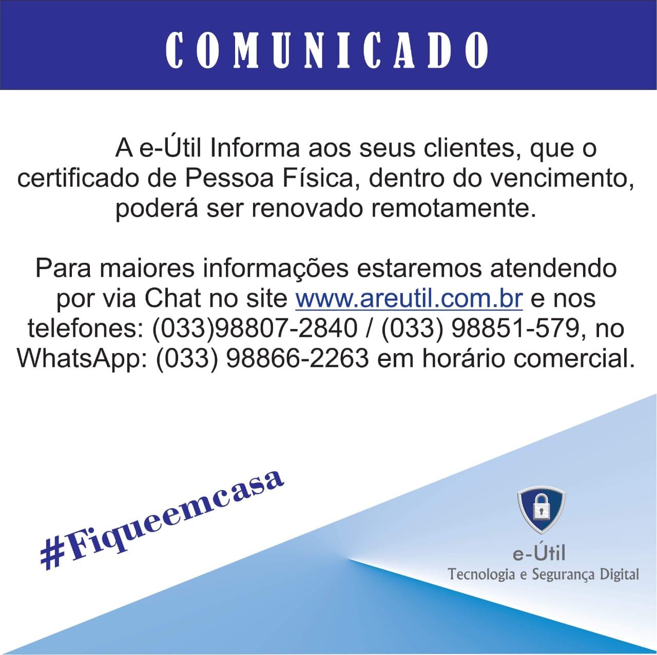 COMUNICADO AOS CLIENTES