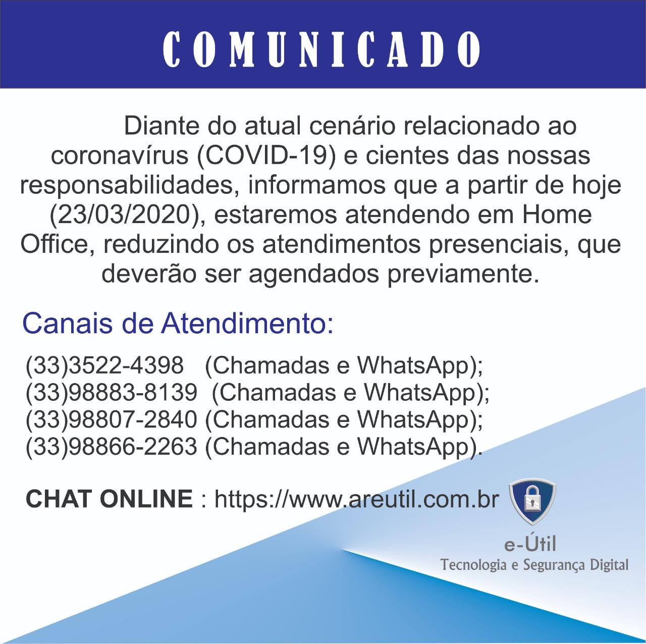 COMUNICADO - TRABALHO HOME OFFICE